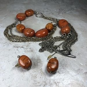 Jewelry - Faux Chestnut Jasper Necklace and Earring Set
